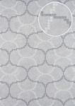 Grafik Tapete ATLAS HER-5132-6 Vliestapete geprägt mit geometrischen Formen schimmernd silber perl-weiß silber-grau 7, 035 m2