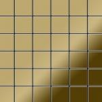 Mosaik Fliese massiv Metall Titan hochglänzend in gold 1, 6mm stark ALLOY Cinquanta-Ti-GM 0, 94 m2