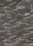 Ethno Tapete Atlas ICO-5075-3 Vliestapete glatt mit Kachelmuster schimmernd anthrazit basalt-grau silber 7, 035 m2