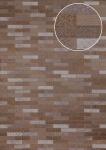 Ethno Tapete Atlas ICO-5075-4 Vliestapete glatt mit Kachelmuster schimmernd braun sepia-braun grau silber 7, 035 m2