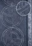 Grafik Tapete ATLAS HER-5139-1 Vliestapete geprägt mit geometrischen Formen schimmernd grau grau-blau silber-grau 7, 035 m2
