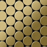 Mosaik Fliese massiv Metall Titan gebürstet in gold 1, 6mm stark ALLOY Dome-Ti-GB 0, 73 m2