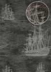 Grafik Tapete Atlas SIG-485-2 Vliestapete glatt im maritimen Design und metallischen Akzenten anthrazit blau-grau silber gold 5, 33 m2