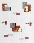 Küchen Tapete EDEM 062-20 Tapete Café Kaffeehaus Mosaiksteine Kachelstruktur weiß creme schoko-braun schwarz silber