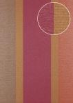 Streifen Tapete Atlas PRI-645-5 Vliestapete glatt in Textiloptik und metallischen Akzenten rot gold bordeaux-violett tomaten-rot 7, 035 m2