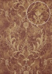 Barock Tapete Atlas ATT-5084-3 Vliestapete geprägt mit floralen Ornamenten glänzend rot violett bronze creme-weiß 7, 035 m2