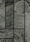 Stein-Kacheln Tapete Atlas 24C-5061-5 Luxus Vliestapete strukturiert in Steinoptik und metallischen Akzenten anthrazit schwarz grau silber 7, 035 m2
