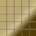 Mosaik Fliese massiv Metall Titan hochglänzend in gold 1, 6mm stark ALLOY Century-Ti-GM 0, 5 m2