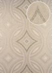 Grafik Tapete ATLAS HER-5135-4 Vliestapete geprägt im Kaleidoskop-Stil schimmernd creme perl-beige perl-weiß 7, 035 m2