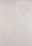 Grafik Tapete ATLAS HER-5138-2 Vliestapete geprägt mit Streifen schimmernd creme perl-beige 7, 035 m2