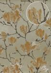 Blumen Tapete Atlas TEM-0115-4 HochwertigeVliestapete strukturiert mit grafischem Muster schimmernd grau grau-beige pastell-orange perl-beige 7, 035 m2