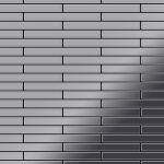 Mosaik Fliese massiv Metall Edelstahl hochglänzend in grau 1, 6mm stark ALLOY Deedee-S-S-M 0, 63 m2