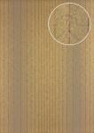 Streifen Tapete Atlas PRI-825-1 Vliestapete glatt im Barock-Stil schimmernd braun grün-braun khaki-grau perl-gold 5, 33 m2