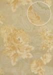 Blumen Tapete Atlas TEM-5109-3 Vliestapete strukturiert mit Paisley Muster schimmernd beige pastell-orange weiß blass-grün 7, 035 m2