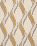 Grafische Tapete EDEM 1025-11 Buntsteinputz geschwungene Linien mit Ornamenten senfgelb beige hellgrau silber