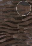 Tiermotiv Tapete Atlas SKI-5069-6 Vliestapete geprägt mit Zebramuster schimmernd braun schokoladen-braun sepia-braun schwarz-braun 7, 035 m2