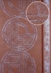 Grafik Tapete ATLAS HER-5139-5 Vliestapete geprägt mit geometrischen Formen schimmernd braun braun-rot silber 7, 035 m2
