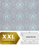 Barock Tapete XXL Vliestapete EDEM 993-37 Elegantes Damastmuster hochwertige Luxus Tapete blau hellblau grün mint grau glitzer 10, 65 m2