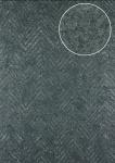 Streifen Tapete Atlas 24C-5055-1 Vliestapete strukturiert mit Chevron Muster und metallischen Akzenten grau stahl-blau silber 7, 035 m2