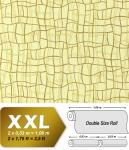 Grafik Tapete Vliestapete EDEM 972-31 XXL Objekttapete abstrakte 3D Netzstruktur Linien Pastell-gelb olive braun 10, 65 qm