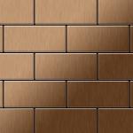 Mosaik Fliese massiv Metall Titan gebürstet in kupfer 1, 6mm stark ALLOY Subway-Ti-AB 0, 58 m2