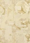 Grafik Tapete Atlas SIG-685-3 Vliestapete glatt im maritimen Design schimmernd elfenbein perl-weiß grau-beige gold 5, 33 m2