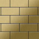 Mosaik Fliese massiv Metall Titan gebürstet in gold 1, 6mm stark ALLOY Subway-Ti-GB 0, 58 m2