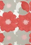 Blumen Tapete Atlas TEM-8015-5 Vliestapete geprägt im Retro-Stil und Metallic Effekt silber himbeer-rot pastell-violett perl-hell-grau 7, 035 m2