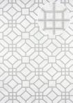 Grafik Tapete ATLAS HER-5134-1 Vliestapete geprägt mit geometrischen Formen schimmernd weiß perl-hell-grau silber 7, 035 m2