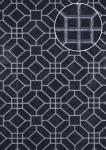 Grafik Tapete ATLAS HER-5134-2 Vliestapete geprägt mit geometrischen Formen schimmernd schwarz schwarz-grau silber 7, 035 m2