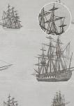 Grafik Tapete Atlas SIG-485-5 Vliestapete glatt im maritimen Design schimmernd grau licht-grau grau-weiß anthrazit 7, 035 m2