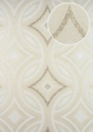 Grafik Tapete ATLAS HER-5135-3 Vliestapete geprägt im Kaleidoskop-Stil schimmernd creme perl-weiß perl-gold perl-beige 7, 035 m2