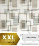 Grafische Muster Retro Tapete Vliestapete EDEM 609-93 XXL Grafische 70er 3D Muster retro abstrakt beige braun silber-grau creme 10, 65 qm
