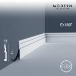Sockelleiste Orac Decor SX180F MODERN HIGH LINE Flexible Leiste Zierleiste Modernes Design weiß 2m