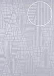 Grafik Tapete ATLAS HER-5138-3 Vliestapete geprägt mit Streifen schimmernd elfenbein perl-hell-grau silber 7, 035 m2