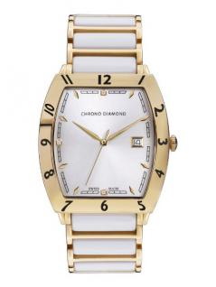 Chrono Diamond Herrenuhr Leandro Gold IP Keramik Weiss 10300