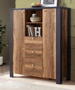 Highboard Kommode Landhaus Schrank 121cm satin nussbaum darkwood