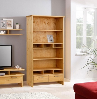 Bücherregal Standregal Regal Schubladen 102cm Kiefer Massiv natur geölt
