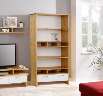 Bücherregal Standregal Regal Schubladen 102cm Kiefer Massiv weiß / honigfarbe...