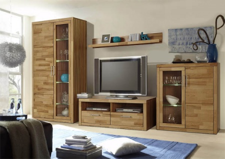 wohnwand eiche teilmassiv g nstig kaufen bei yatego. Black Bedroom Furniture Sets. Home Design Ideas