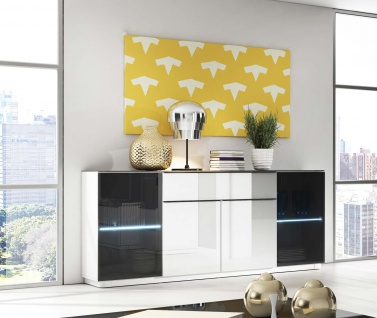 kommode sideboard anrichte laminat wei schwarzglas mit. Black Bedroom Furniture Sets. Home Design Ideas