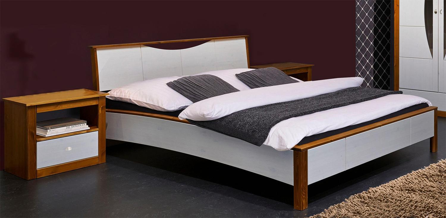 bett doppelbett mit 2 nachtkonsolen braun wei kiefer massiv 140x200cm neu kaufen bei. Black Bedroom Furniture Sets. Home Design Ideas