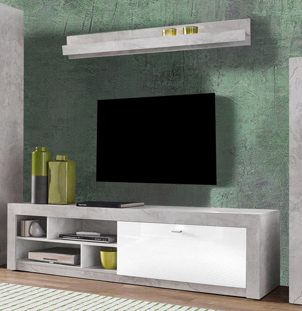 lowboard tv unterschrank mit wandregal 200cm beton wei hochglanz neu kaufen bei feldmann. Black Bedroom Furniture Sets. Home Design Ideas