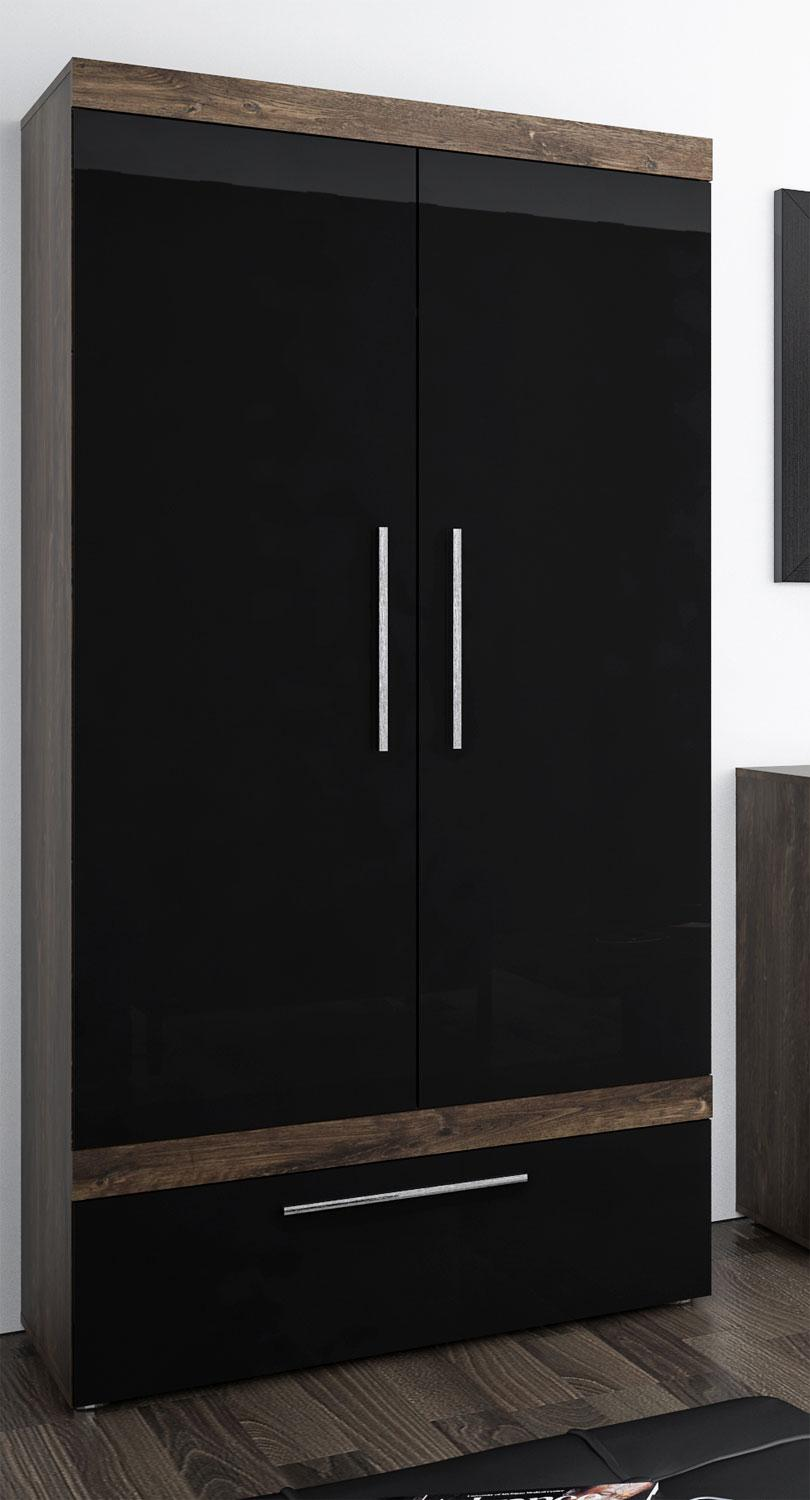 schrank kleiderschrank dielenschrank 2 t rig 90cm hidalgo schwarz hochglanz kaufen bei. Black Bedroom Furniture Sets. Home Design Ideas