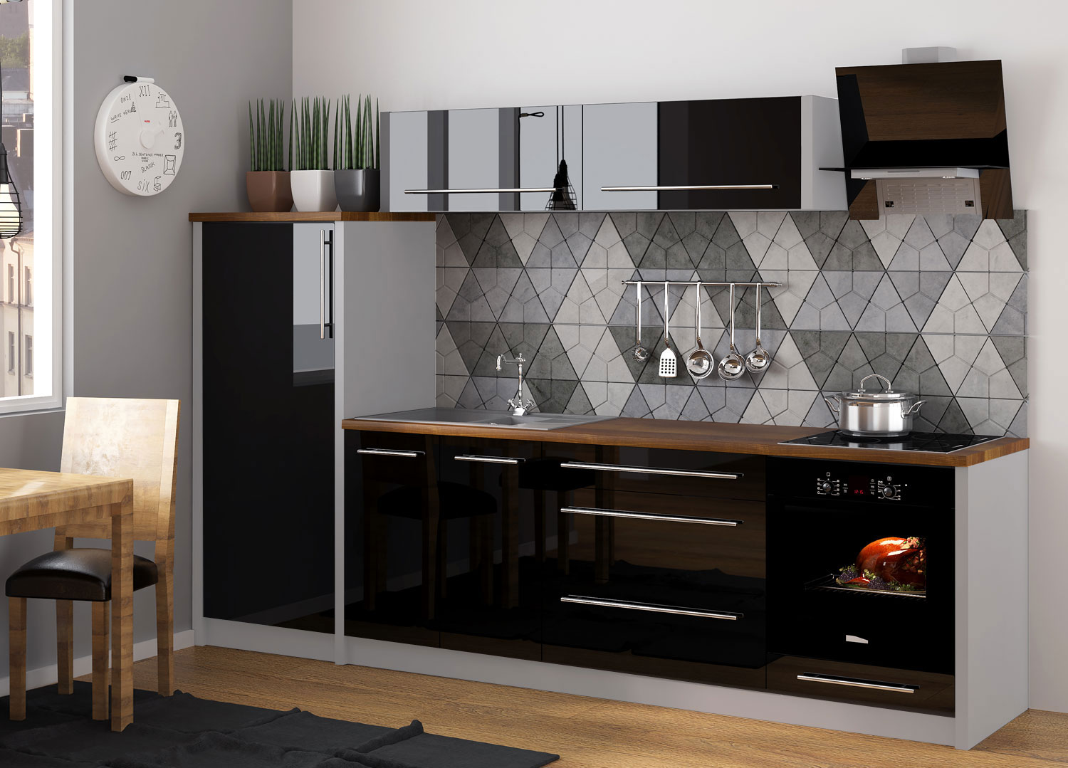 k chenzeile k che 260cm grau schwarz hochglanz neu kaufen bei feldmann wohnen gmbh. Black Bedroom Furniture Sets. Home Design Ideas