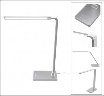 """SAFE 4668 LED Tischleuchte Tischlampe """" Art """" alu & weiss mit 4 Lichtfarben & 7 Helligkeiststufen"""