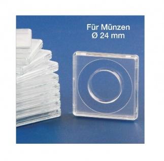 10x SAFE 3124 Quadratische Münzkapseln Münzdosen Square 50x50 mm glasklar für Münzen bis 24 mm - Ideal für 1 Euro - 1 DM - 1 Schweizer Franken CHF - 5 ÖS - 1/4 Libertad Gold