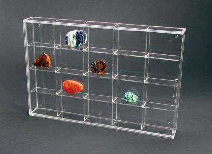 SAFE 5257 ACRYLGLAS Sammelvitrinen Kleinvitrinen Setzkasten Universal 20 Fächern 57 x 47 x 42 mm Für Mineralien - Fossilien - Bernstein - Kristalle - Schnecken - Muscheln