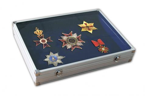 SAFE 5881SP ALU Sammelvitrinen Vitrinen mit blauer Samteinlage für Schmuck Ketten Ringe Militaria Orden Spangen Antiquitäten Dolche Waffen Mineralien - Vorschau 2