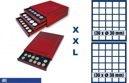 SAFE 6830 XXL Nova Exquisite Holz Münzboxen Schubladenelement mit 2 Tableaus 6330 und 60 eckige Fächer 30 mm 5 Euro DM Mark der DDR & Münzkapseln bis 23, mm